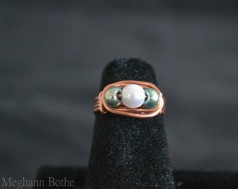 Copper, Wire wrap ring, size 3, Copper jewelry, Wire wrap jewelry, beaded ring, Simple copper ring, Child's Ring