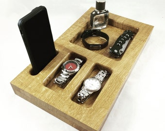 Dresser/Nightstand Organizer - Docking Station - iPhone Dock - Tech Organizer - Gift for Him - Phone Stand - Jewelry Tray - Anniversary Gift