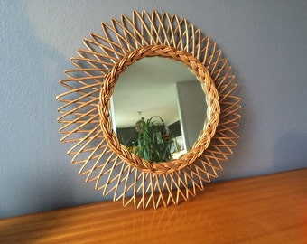 Large sunburst rattan mirror - French Vintage - 1960s