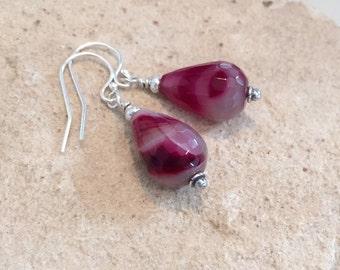 Pink/Fuchsia drop earrings, agate teardrop earrings, Hill Tribe silver earrings, sundance style earrings, dangle earrings, gift for her