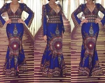 Nadia Inspired African Print Floor Length Mermaid Dress|| African Print Dresses, Floor Length Dresses, Ankara Dresses, Blue Dress