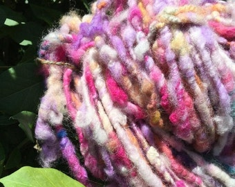 ON SALE Petunias, Handspun Art Yarn
