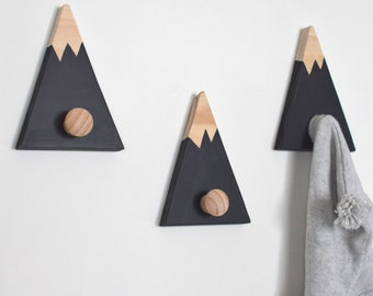 Wall Hooks for Kids, Mountain Wall Hook, Mountain Peak Coat Hook, Mountain Peak Wall Decor, Woodland Nursery Decor, Coat Hook, Entrance Hook