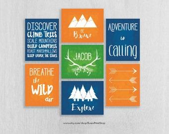 CANVAS Woodland Adventure Nursery Wall Art Set of 7 - Be Brave, Explore, Antlers, Arrows - Childrens Art  - Camping Nursery
