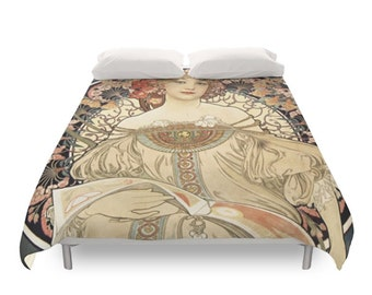 Art Nouveau Duvet Cover, Retro Bedding, Alphonse Mucha Illustration, Bohemian Portrait, Artistic Bed, Decorative Bedroom, Full, Queen, King