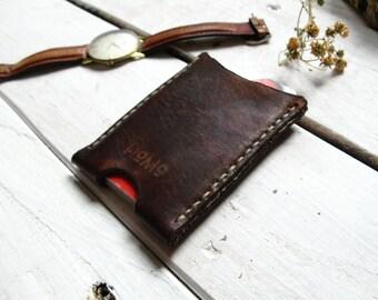 Leather wallet, Leather Thin Wallet, Leather Card Holder, Slim Vertical Wallet, Handmade in MX