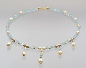 Blaue Aquamarin Kette mit 585 Gold und Perlen  Unikat Goldschmiedearbeit Meisterarbeit