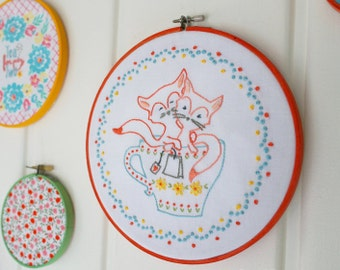 Foxes, Teacup, Tea, Embroidery Pattern PDF - Tea For Two - Foxes in a Teacup