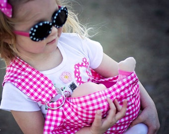 Custom Doll ring sling, doll carrier, mini mommy, pretend play, maya wrap, new big sister, moby wrap, wearing baby doll, you choose fabric