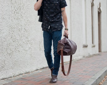 Leather Duffle Bag - The Gunnar Duffle - Military Style Duffel