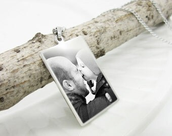 Photo Necklace | Custom Necklace | Engraved Photo Pendant - Personalized Necklace | Father's Day | Memorable Gift | Birthday | Anniversary