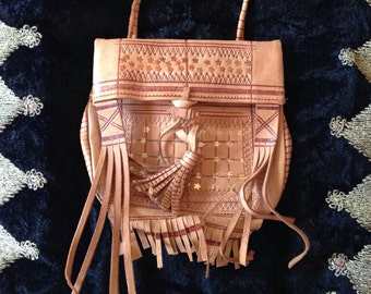 1960's Morroccan Leather Tassle Bag