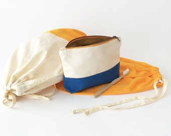 Travel Light Gift Set - A Colorblock Travel Case & Two Cotton Drawstring Packing Bags - Orange, Ivory, Blue