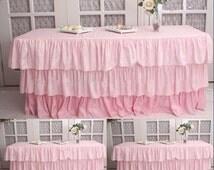 Ruffled Tablecloth, Ruffled Tableskirt, 3 Tier Pink, Blush Ruffled Tablecloth, Blush Pink Ruffled Tableskirt, Ruffled Wedding Tablecloth