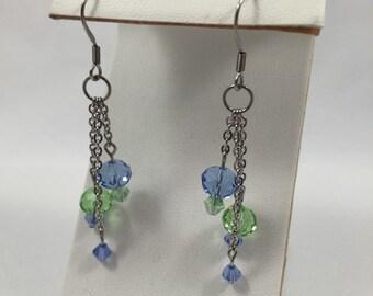 Light green and blue cystal tassle earrings