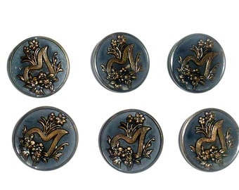 Antique Large Buttons Art Nouveau Molded Victorian Edwardian Set of 6 Matching Buttons 1 1/8''