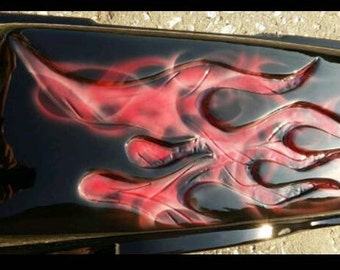 Harley 94' to 2013 saddle bag lids with Red 3D flames