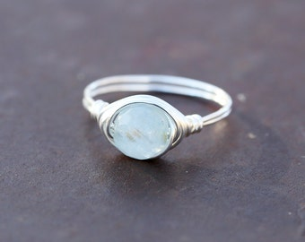 Aquamarine Ring - Aquamarine Stone - March Birthstone - March Birthday - Boho Ring - Minimal Ring - Boho Rings - Birthstone Ring
