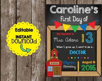 50% OFF SALE First Day of School Sign - All Grades - Editable PDF - Instant Download - Chalkboard - Printable Poster