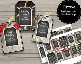 50% OFF SALE Vintage {Editable} Christmas Tags - Chalkboard - Shabby Chic- Instant Download - Printable - Customize