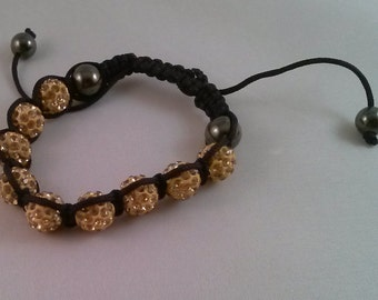 Shamballa bracelet, tan pavabeads, black cord, hematite gemstones, fashion bracelet, adjustable bracelet, trendy bracelet