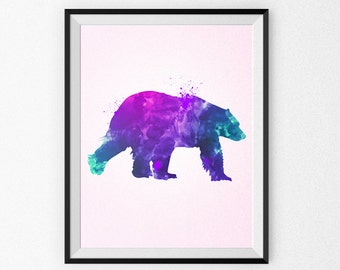 Watercolor Bear Painting - Watercolor Nursery Art - Wall Art - Pink Bear - Watercolor Canvas - Watercolor Print