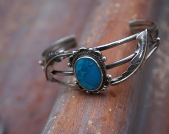 Navajo Vintage Sterling Silver Blue Turquoise Cuff