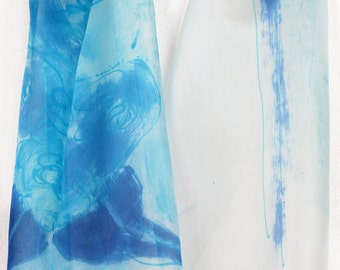 Hand painted silk scarf Aqua flower, Painted silk scarf, Luxury scarf painted, Long fashion scarf in abstract mood.Painting on silk by Dimo