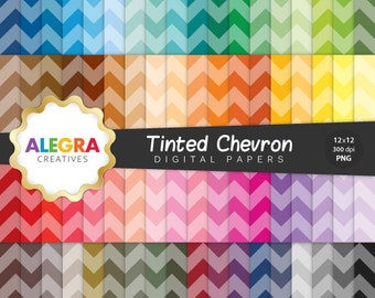 80% OFF SALE - Tinted Chevron Digital Paper - Chevron Scrapbook Paper - Zig Zag, Zigue Zague - Rainbow Colors - Instant Download - P056