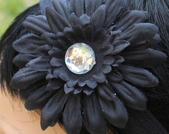 Black Flower Headband, Infant Headband, Toddler Headband, Newborn Headband, Baby headband, Girls Headband, Flower Headband, Spring Headband