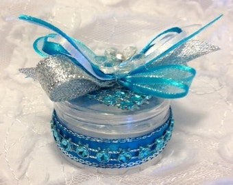 12 Round Mini Favors, Wedding Favors, Quinceanera Favors, Sweet Sixteen Favors, Baby Shower, Blue and Silver Party Favors, Fillable Favors