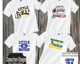 Personalized Football Little Brother Shirt Football Little Brother Biggest Fan Shirt Choose your design
