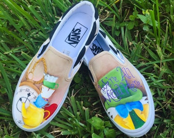 Hand Painted Alice in Wonderland inspired canvas shoes- made to order!