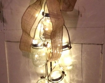 Mason Jar light up chandelier, Farm house chandelier, Light up Jars, Mason Jar Twinkle Light chandelier,Rice Lights w Mason Jars