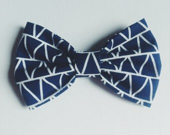Blue Triangle Bow Tie - Baby // Toddler // Child - Clip On