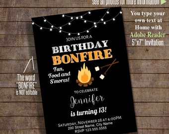 Birthday Bonfire Invitation, Birthday party invite, Editable Printable PDF File Invitation, Instant Download A134