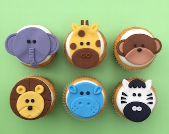 12 Zoo Animal Cupcake Toppers-Fondant