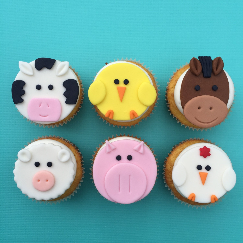 12 Farm Animal Cupcake Toppers-Fondant by bakerslovebakery ...