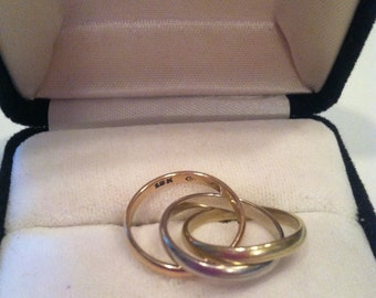 Authentic Cartier 18k Tri Color Gold Trinity Rolling Ring