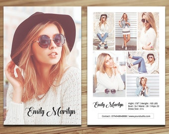 Modeling Comp Card Template | Fashion Model comp card | Photoshop , Elements and MS Word Template | Instant Download | mc-16