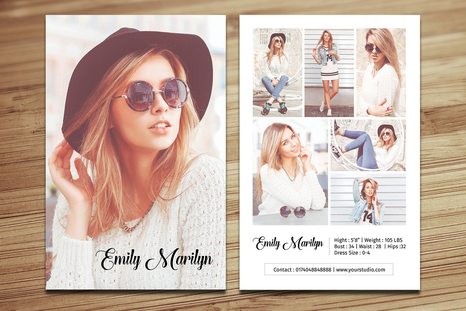 modeling comp card template fashion model comp card