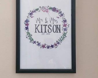 Mr & Mrs floral wreath wedding gift frame beautiful colourful hand drawn personalised frame