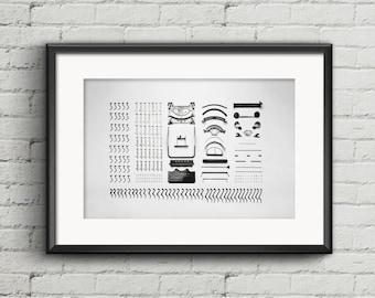 Typewriter digital download print, typewriter pieces art print, black and white printable art, digital download, old vintage typewriter art