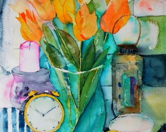 Tulips original watercolor (12'' x 18'') / (31 x 46 cm)