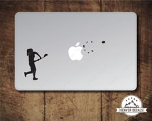 Girl Lacrosse Sticker MacBook Decal Blasting the Apple Sports Mac Vinyl Black Matte for 13 and 15 inch models