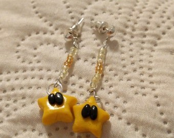 Mario Star Polymer Clay earrings