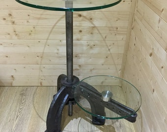 Industrial lamp stand, end table, cast iron and glass side table, reclaimed cast iron base