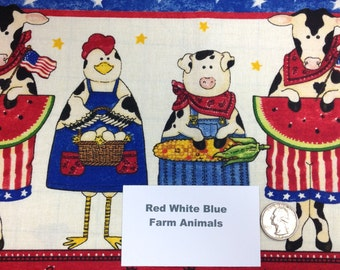 Red White and Blue Farm Animals Fabric - 2 Yards