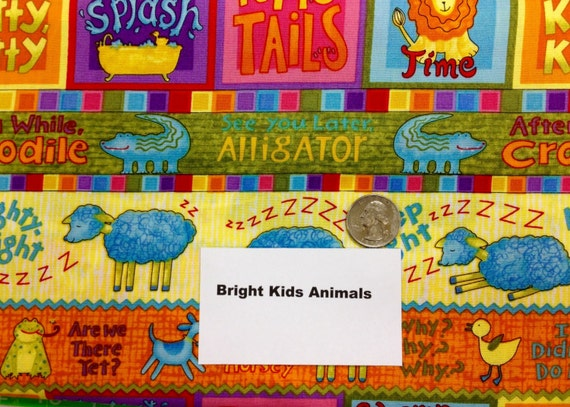 Bright kids animal fabric 2 yards from quarterstoquilts for Bright childrens fabric