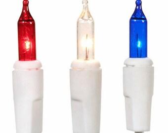Patriotic Deco Lights, Red White Blue, Craft Supplies, 4th of July, Patriotic Lighting, Primitive Lights